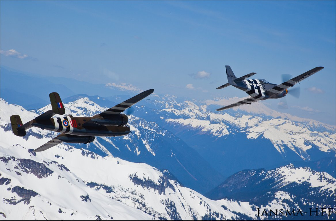 Historic Flight Foundation's North American P-51 Mustang and B-25 Mitchell