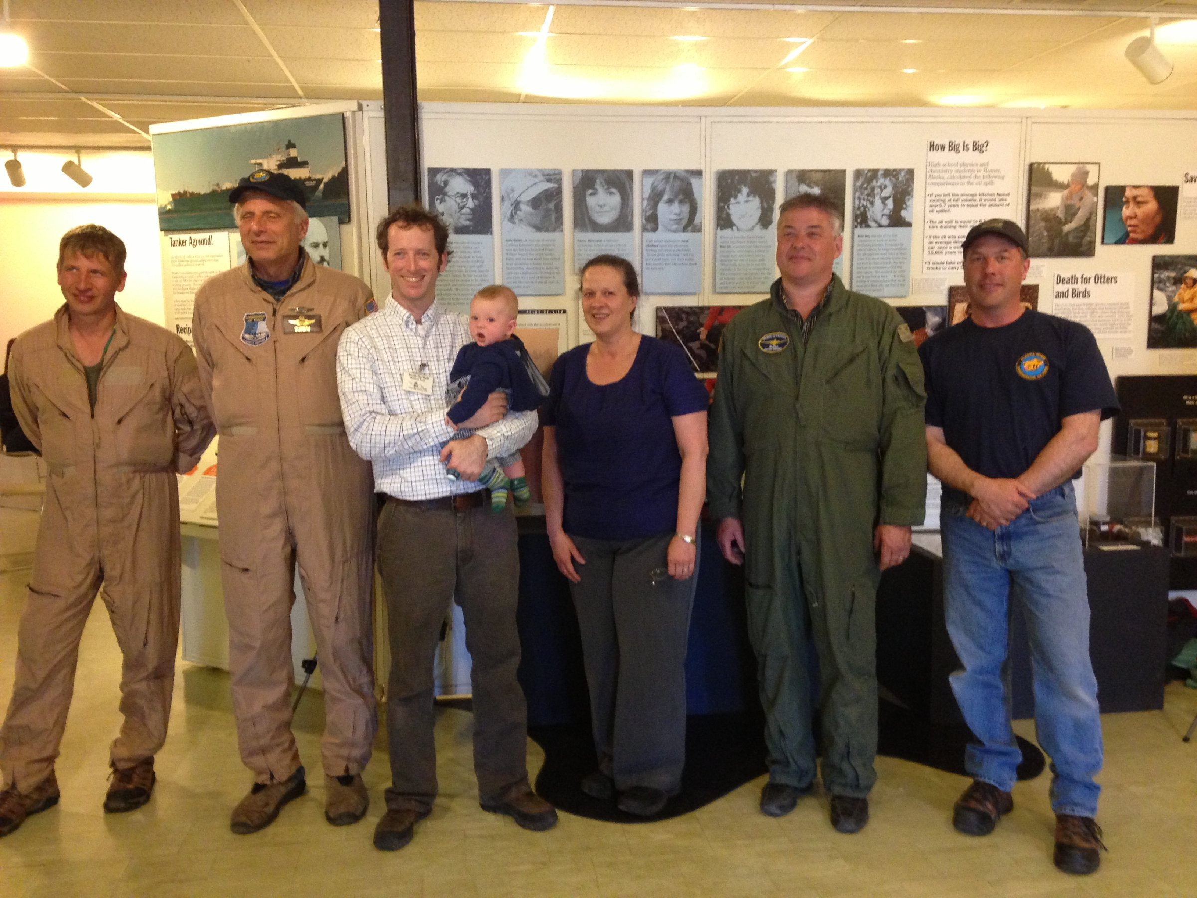 Pilots and Mayor with Scott Bartlett Curator Pratt Museum and Centennial Coordinator for Pratt Museum event.